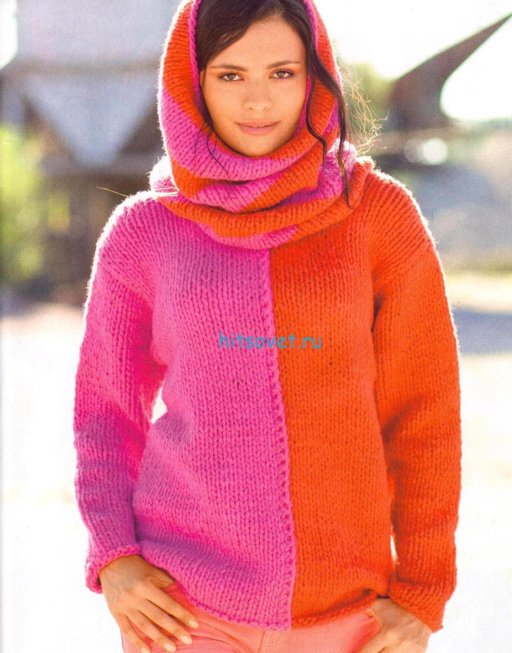 Двухцветный вязаный пуловер с воротником хомут