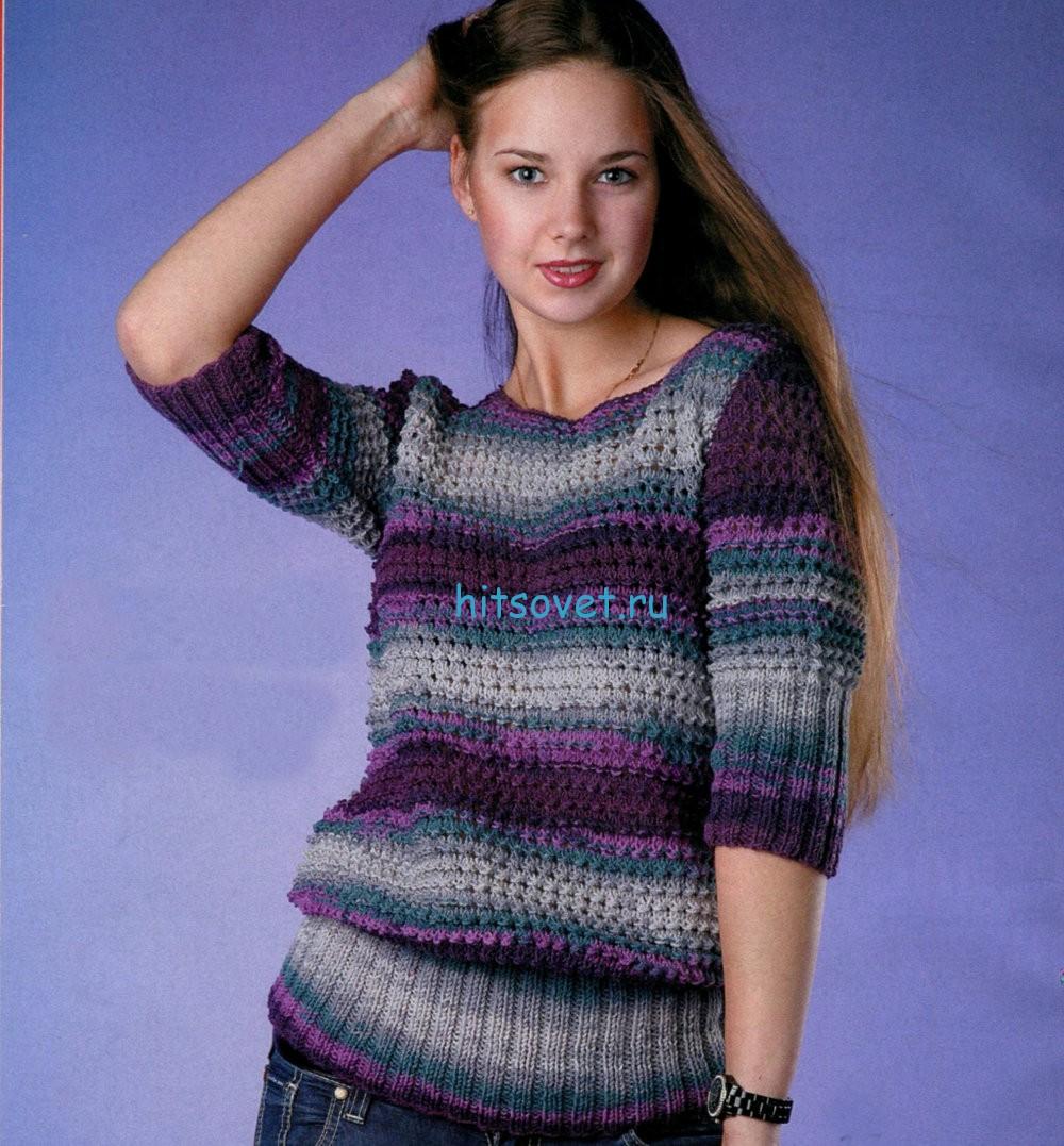 Вязаный пуловер с укороченными рукавами