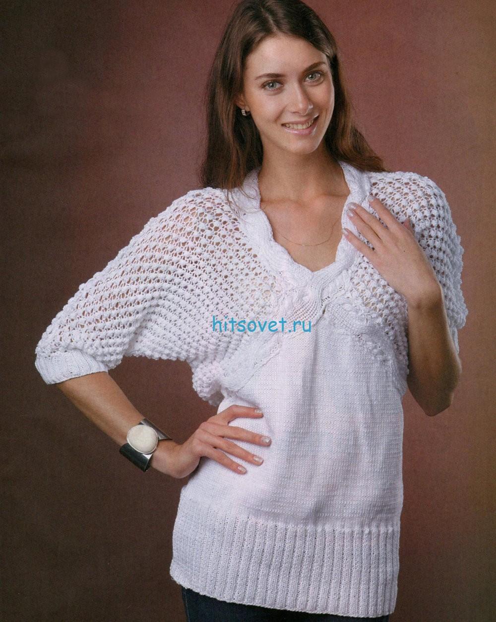 Белый пуловер с ажурным узором