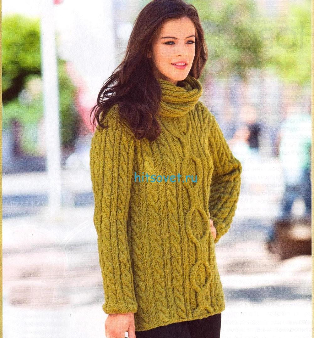 Вязание пуловера с объёмным воротником