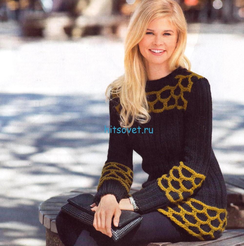 Удлиненный пуловер с узором из сот