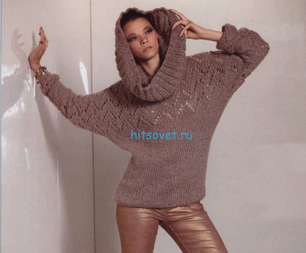 Вязание пуловера со снудом