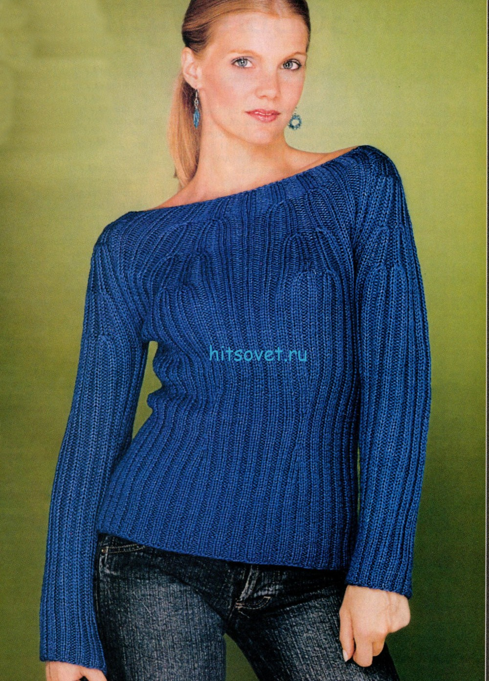 Женский пуловер синего цвета