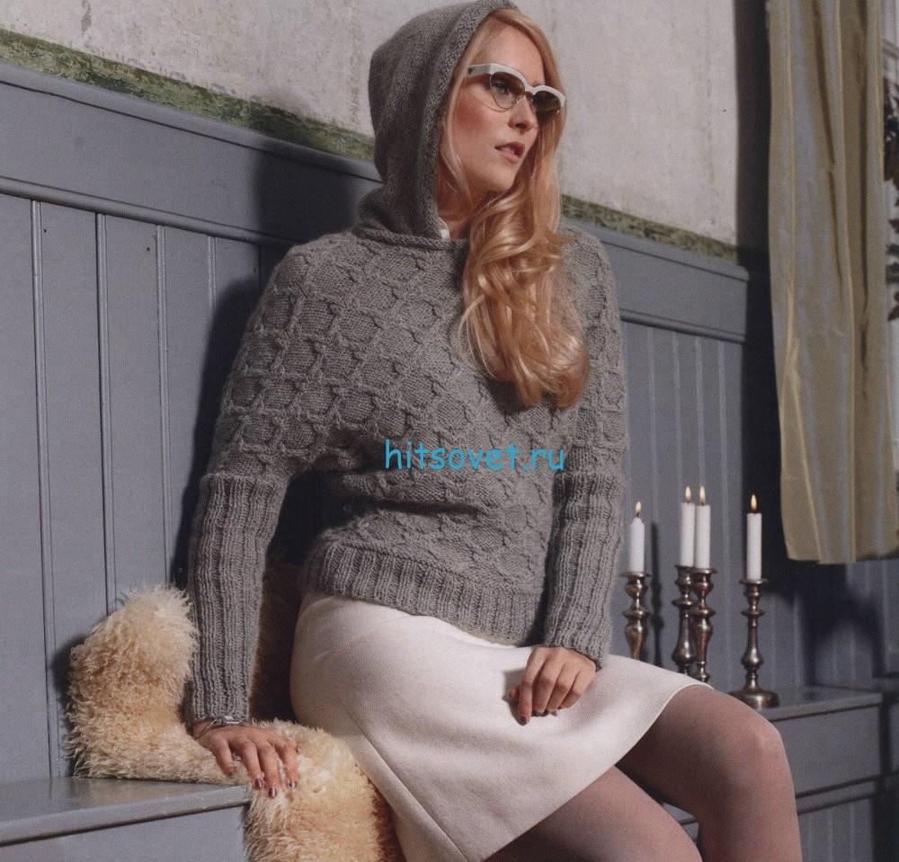 Стильный вязаный пуловер с капюшоном, фото.