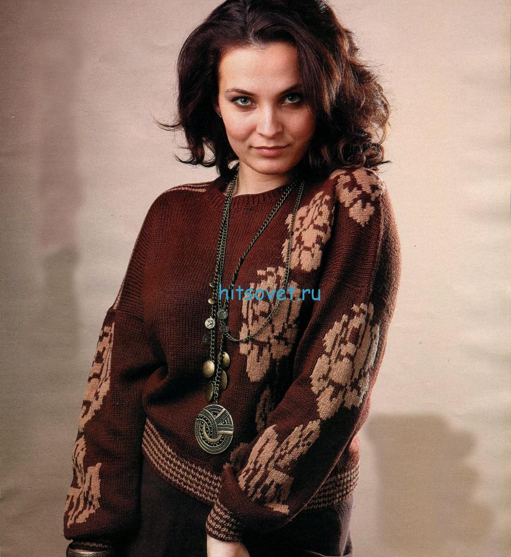Вязание пуловера с цветами