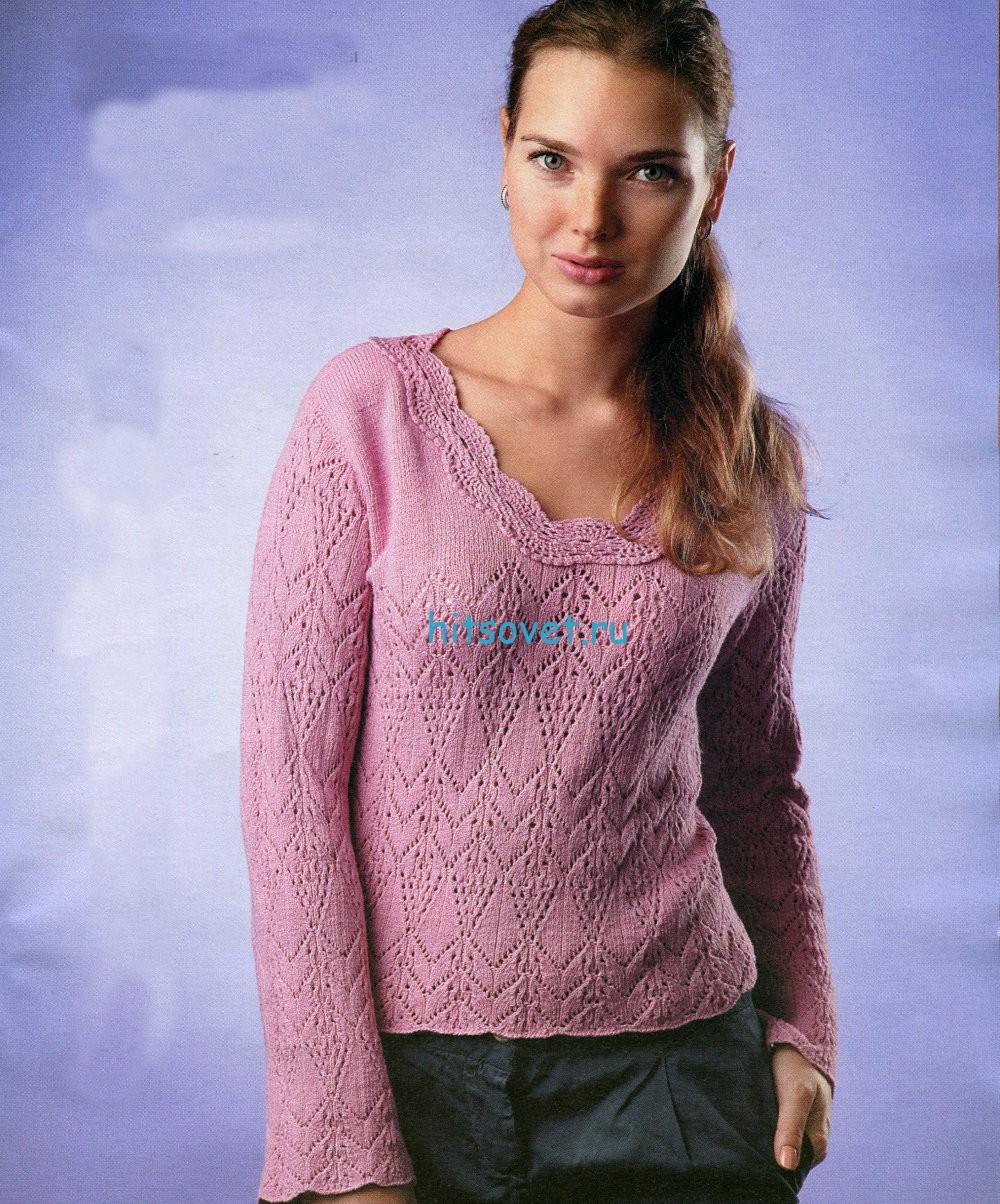 Розовый пуловер с ажурным узором
