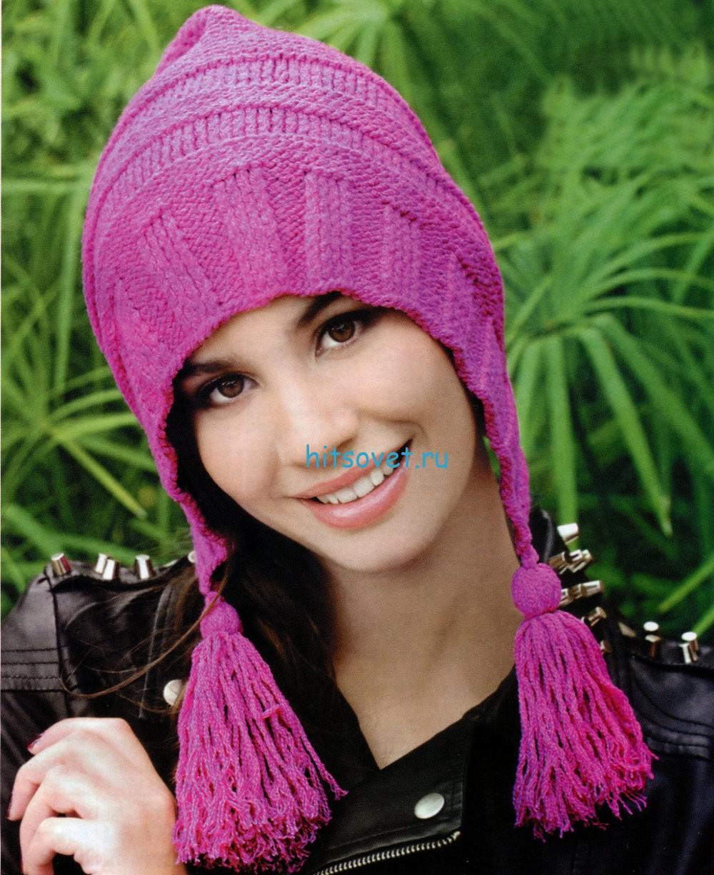 Вязание шапки спицами лилового цвета, фото.