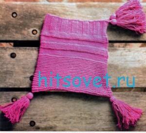 Вязание шапки спицами лилового цвета, фото 2.