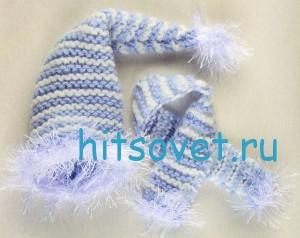 Вязаный снеговик в шапке и шарфе, фото 2.