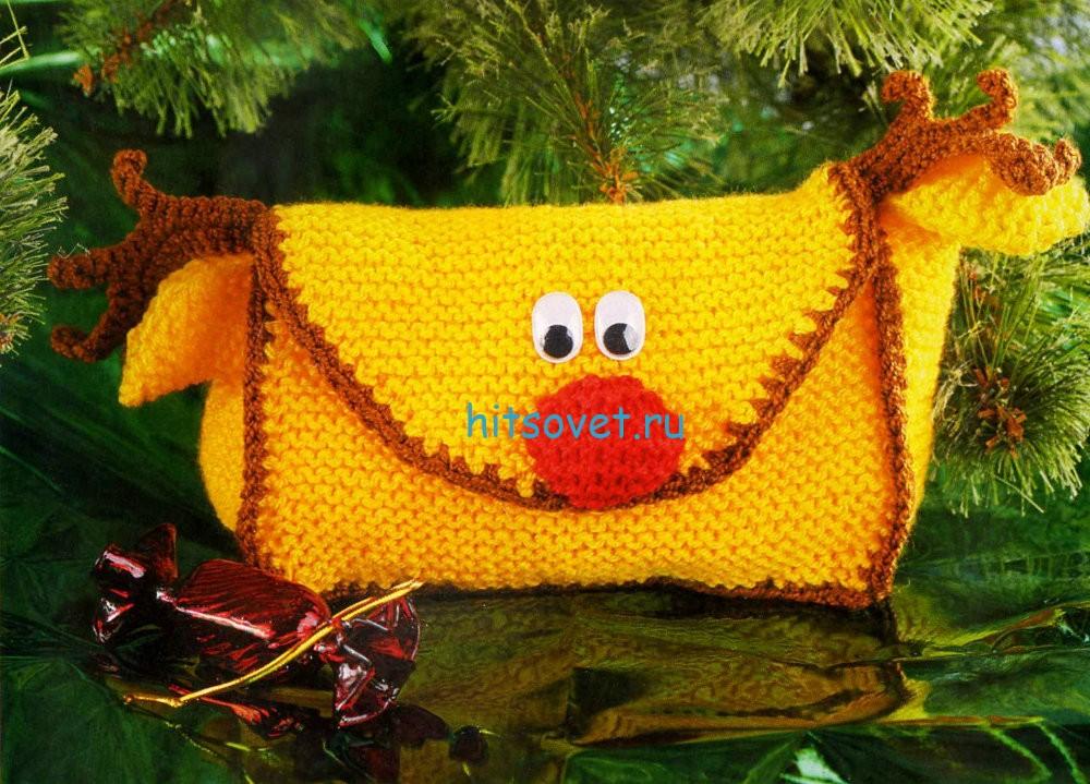 Вязаная сумка для подарка «Олень»