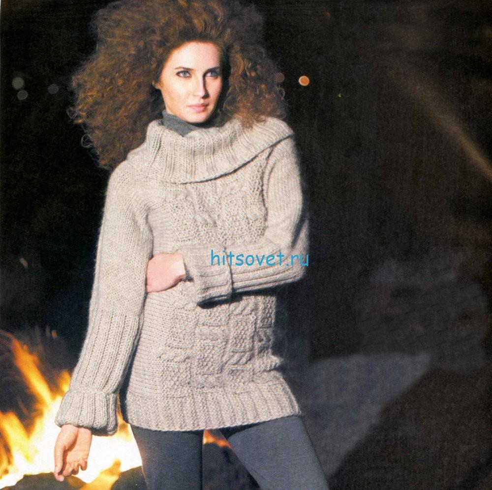 Модный женский свитер спицами, фото.
