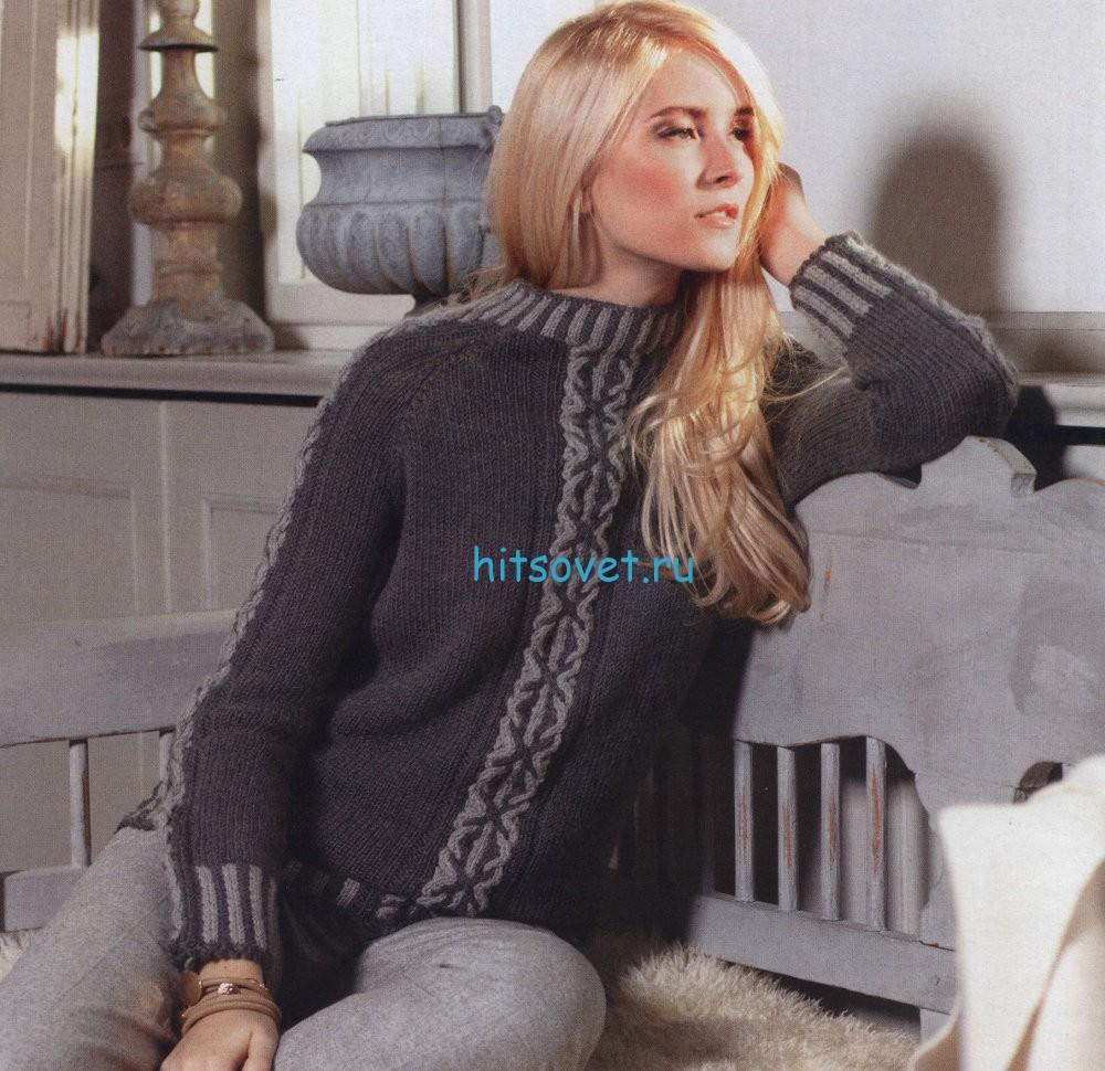 Вязаный свитер реглан, фото.