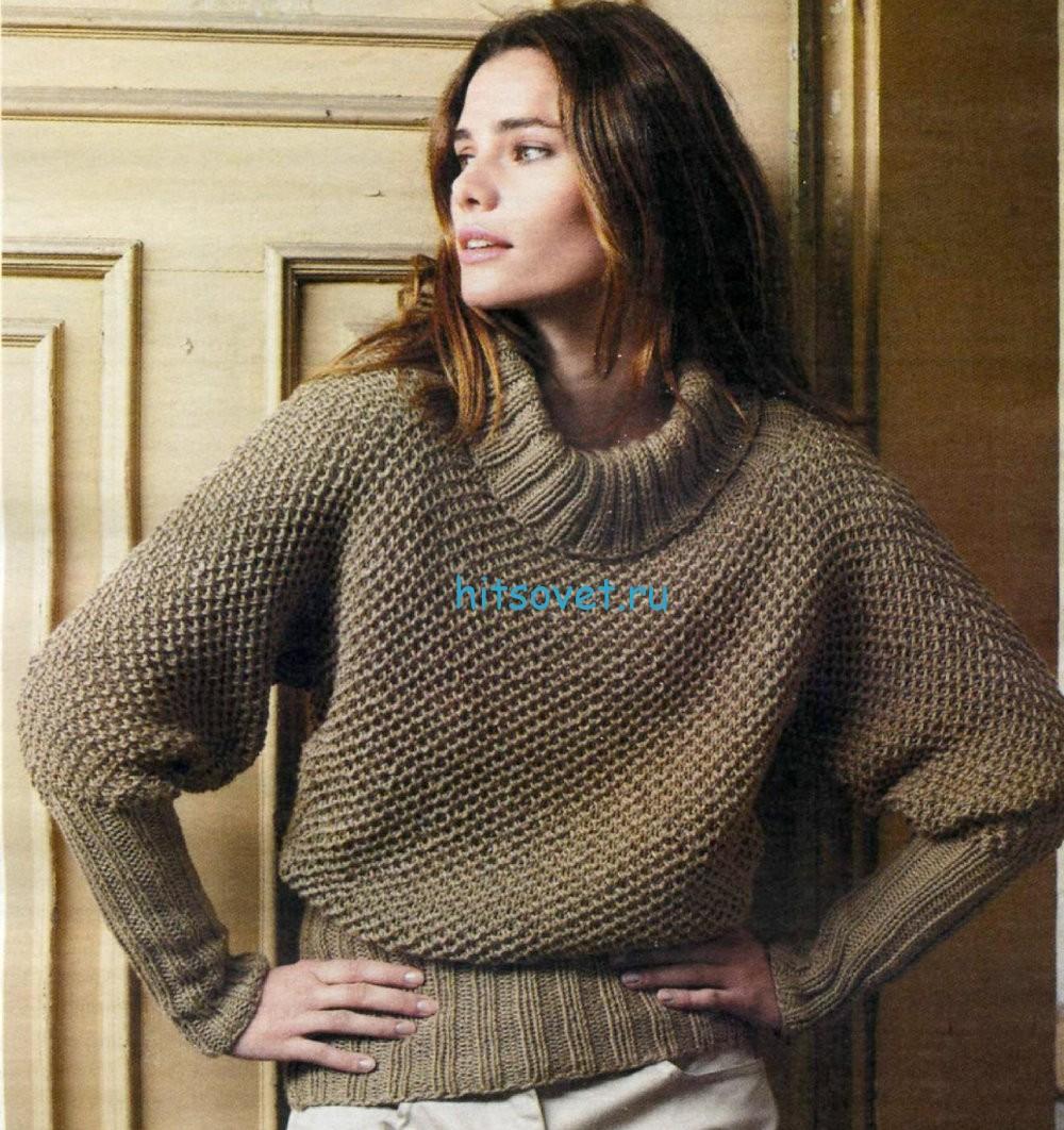 Вязаный свитер цвета капучино, фото.