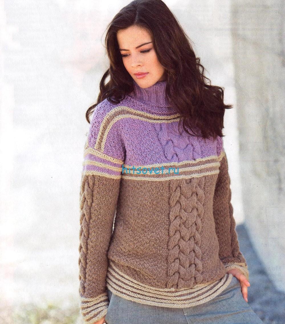 Вязаный свитер с косами и полосами, фото.