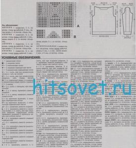 Классический вязаный свитер, схема.