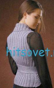 Женский вязаный жилет, фото 2.