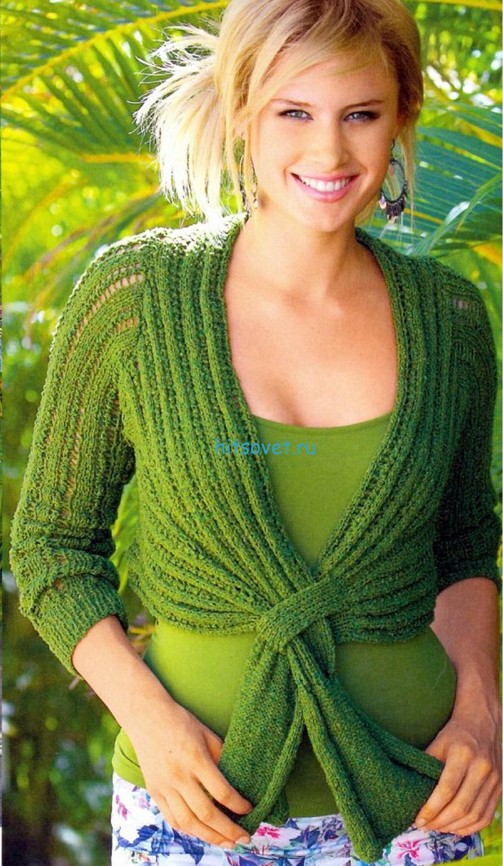 Вязаное болеро с завязками