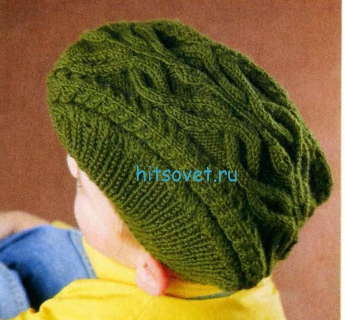 Вязание кепи с аранами, фото 2.