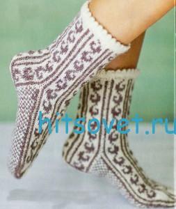 Вязание носков со схемой узора
