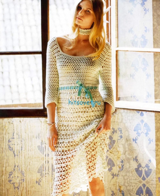Вязаное платье крючком из хлопка