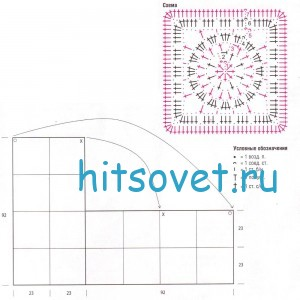 Вязаное пончо из квадратов, схема.