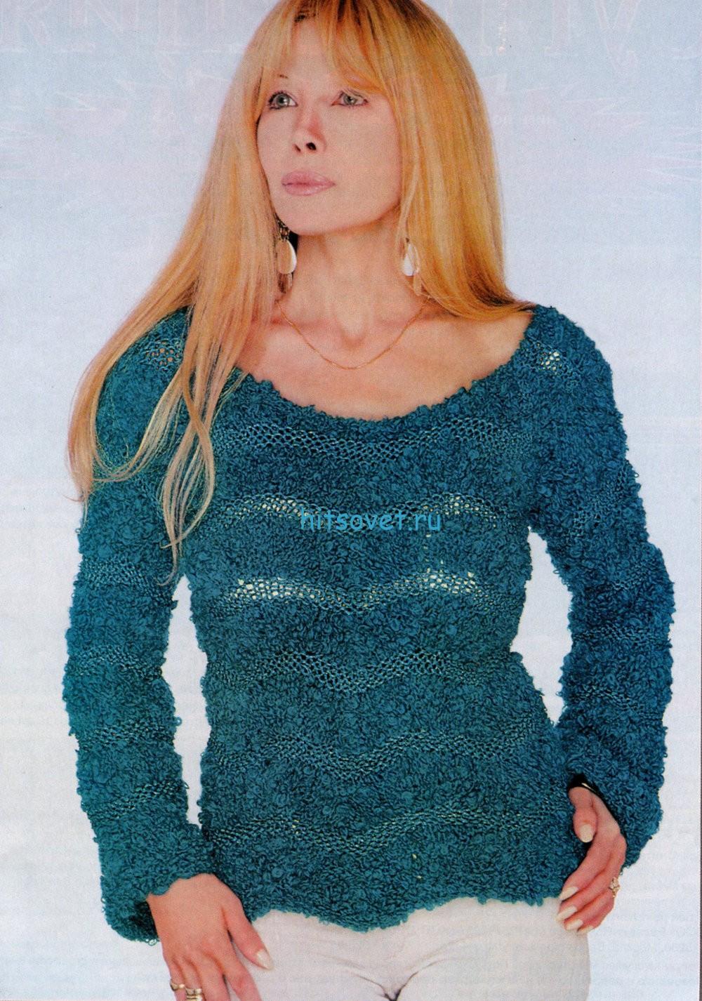 Вязание пуловера из букле