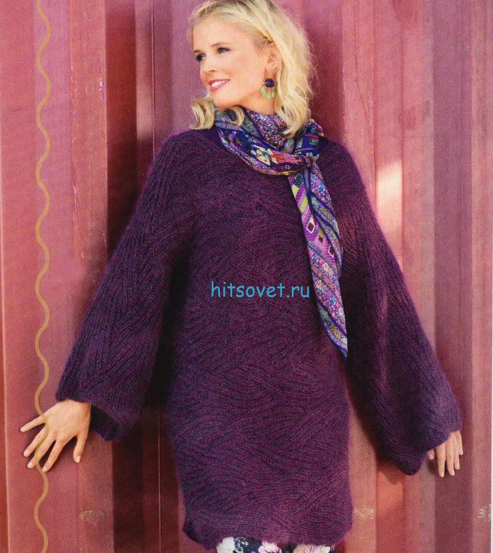 Удлиненный вязаный пуловер
