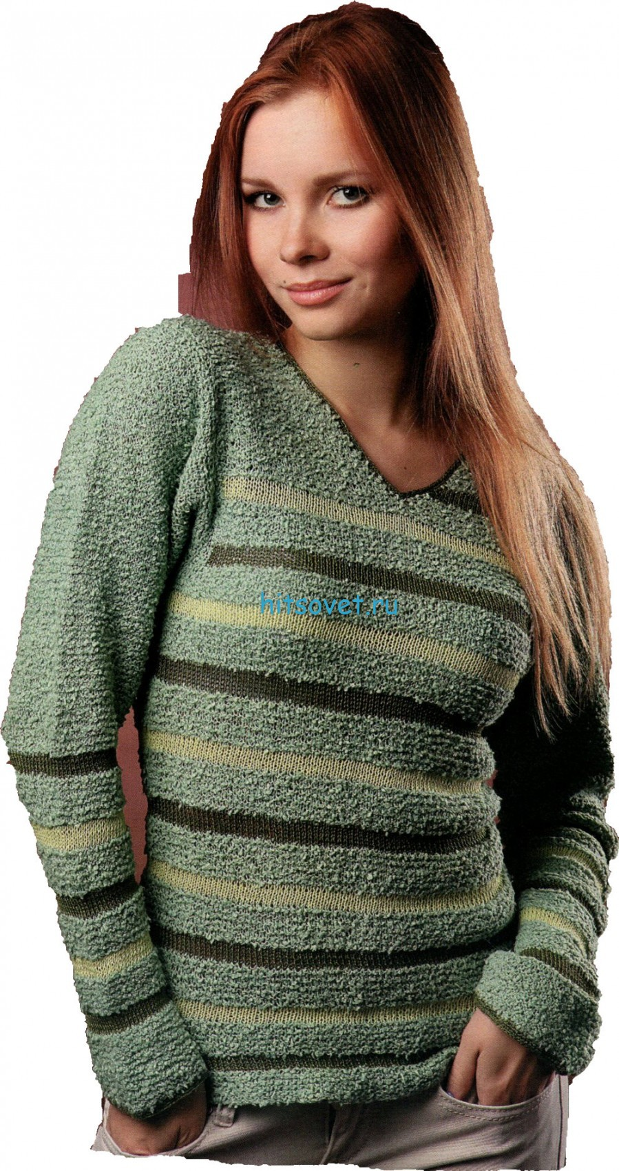 Вязание пуловера спицами с v-образным вырезом