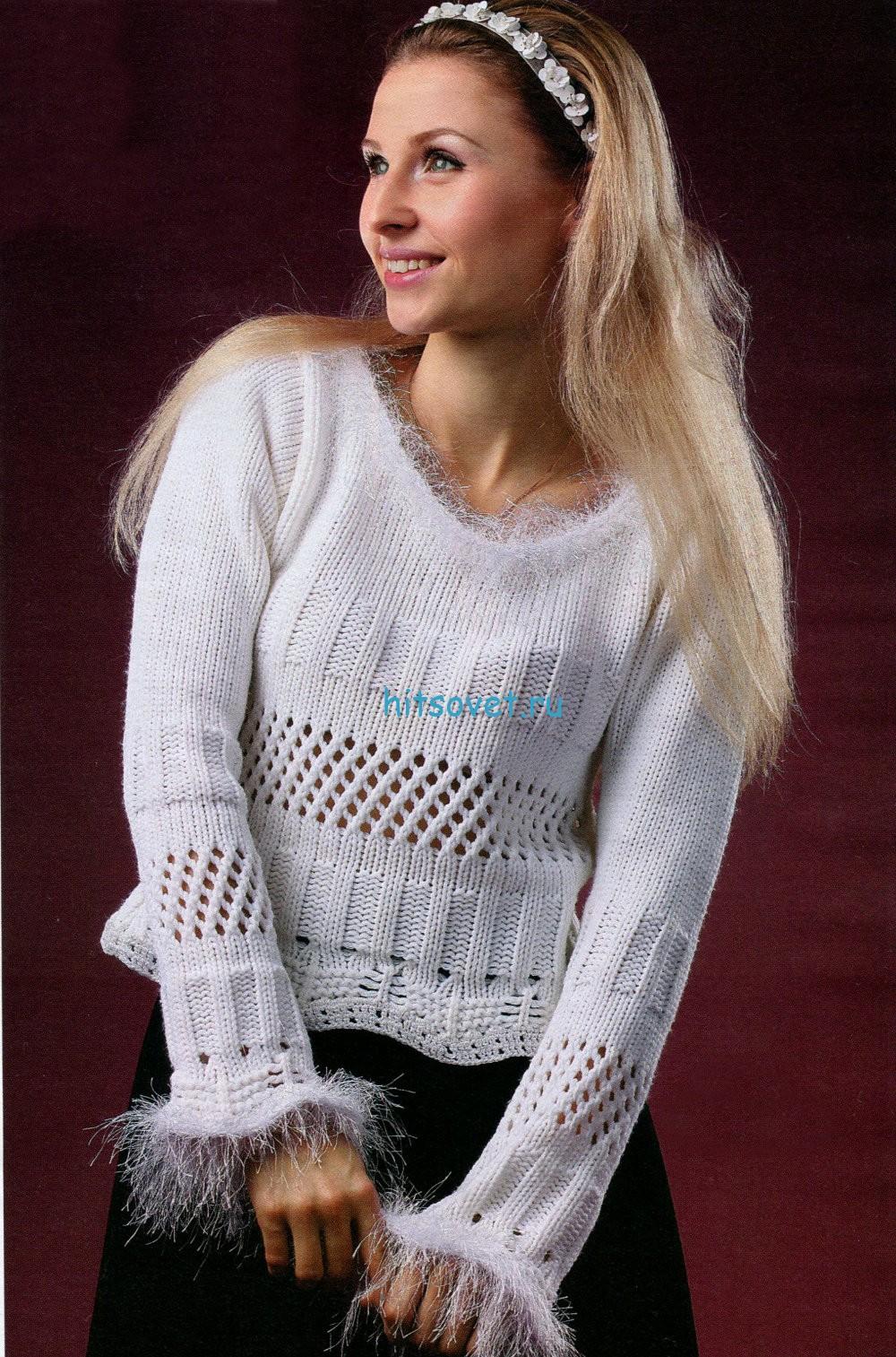 Белый вязаный женский пуловер