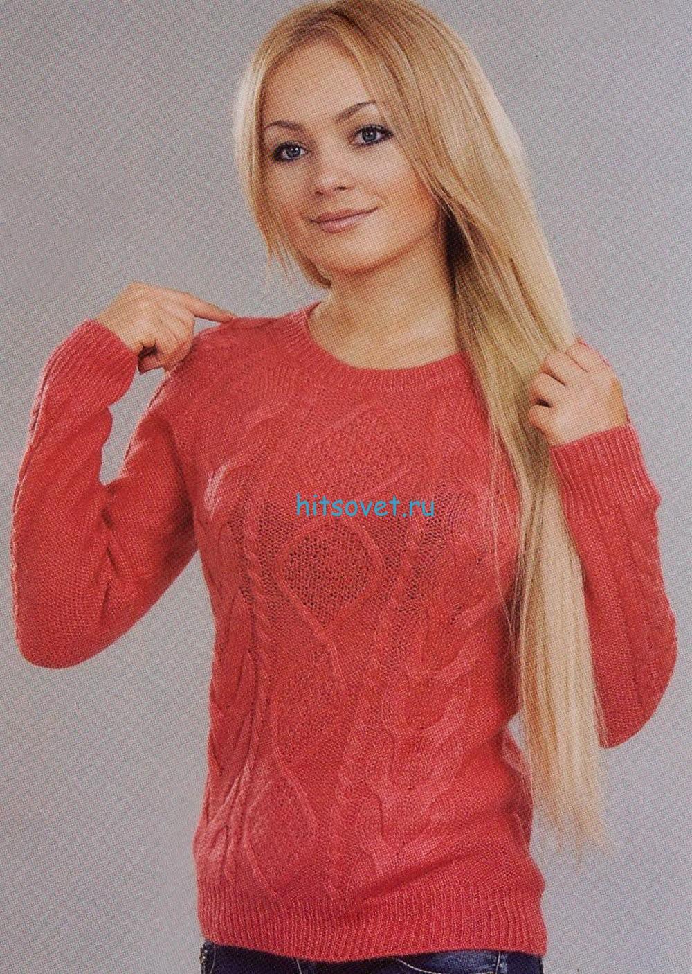 Вязание пуловера с ромбами и жгутами
