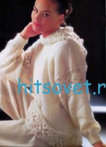Белый вязаный пуловер с капюшоном