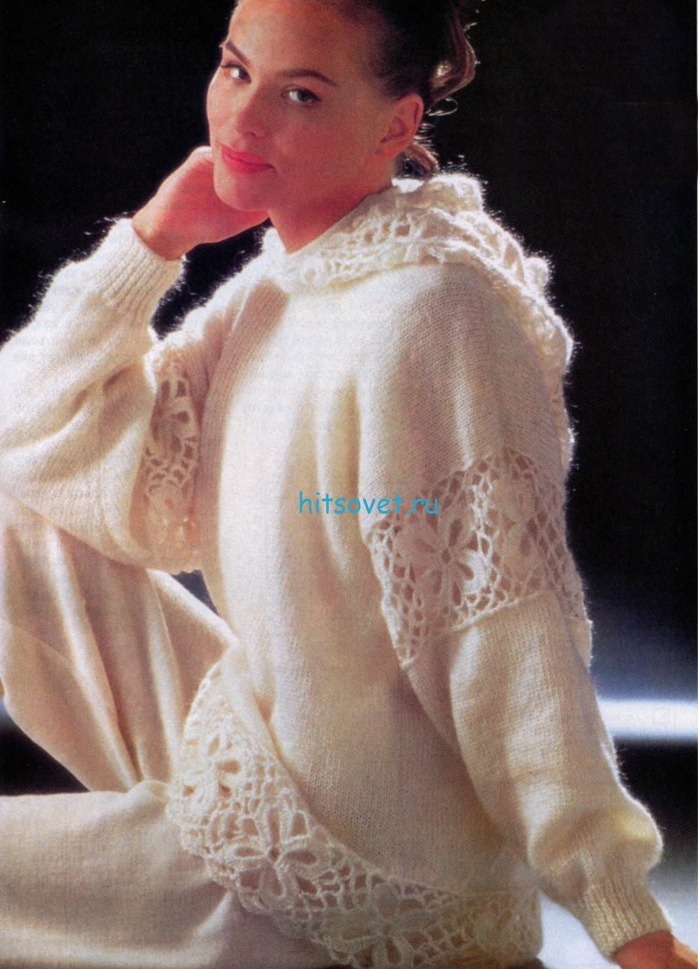 Вязаный пуловер с капюшоном схема