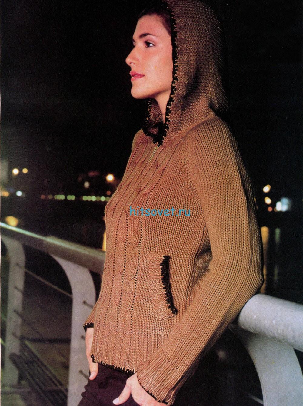 Вязание жакета с капюшоном для девушки