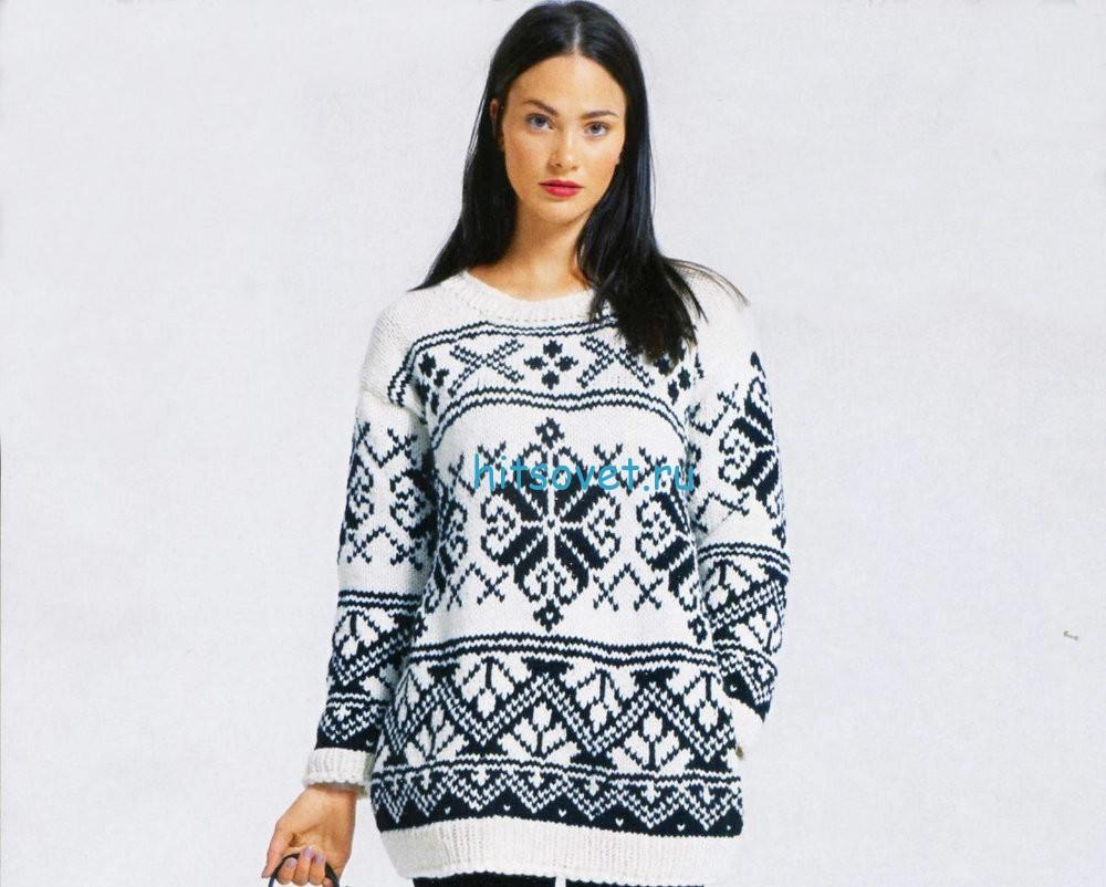 Вязаный пуловер с норвежским узором