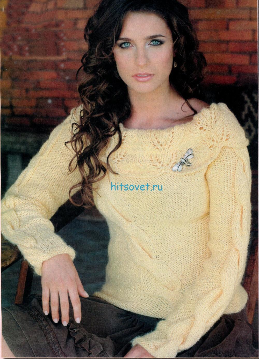Вязание спицами женского пуловера с косами