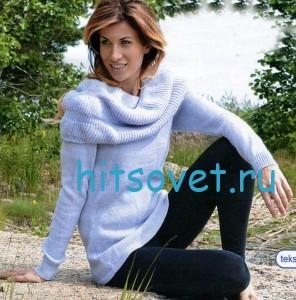 Вязаный спицами пуловер с воротником хомут, фото 2.