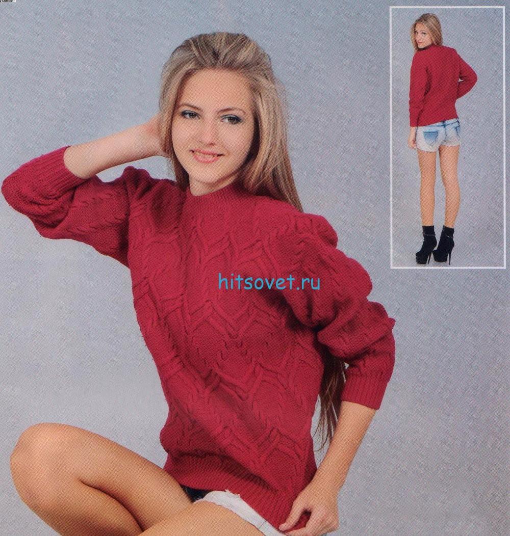 Вязаный красный пуловер спицами