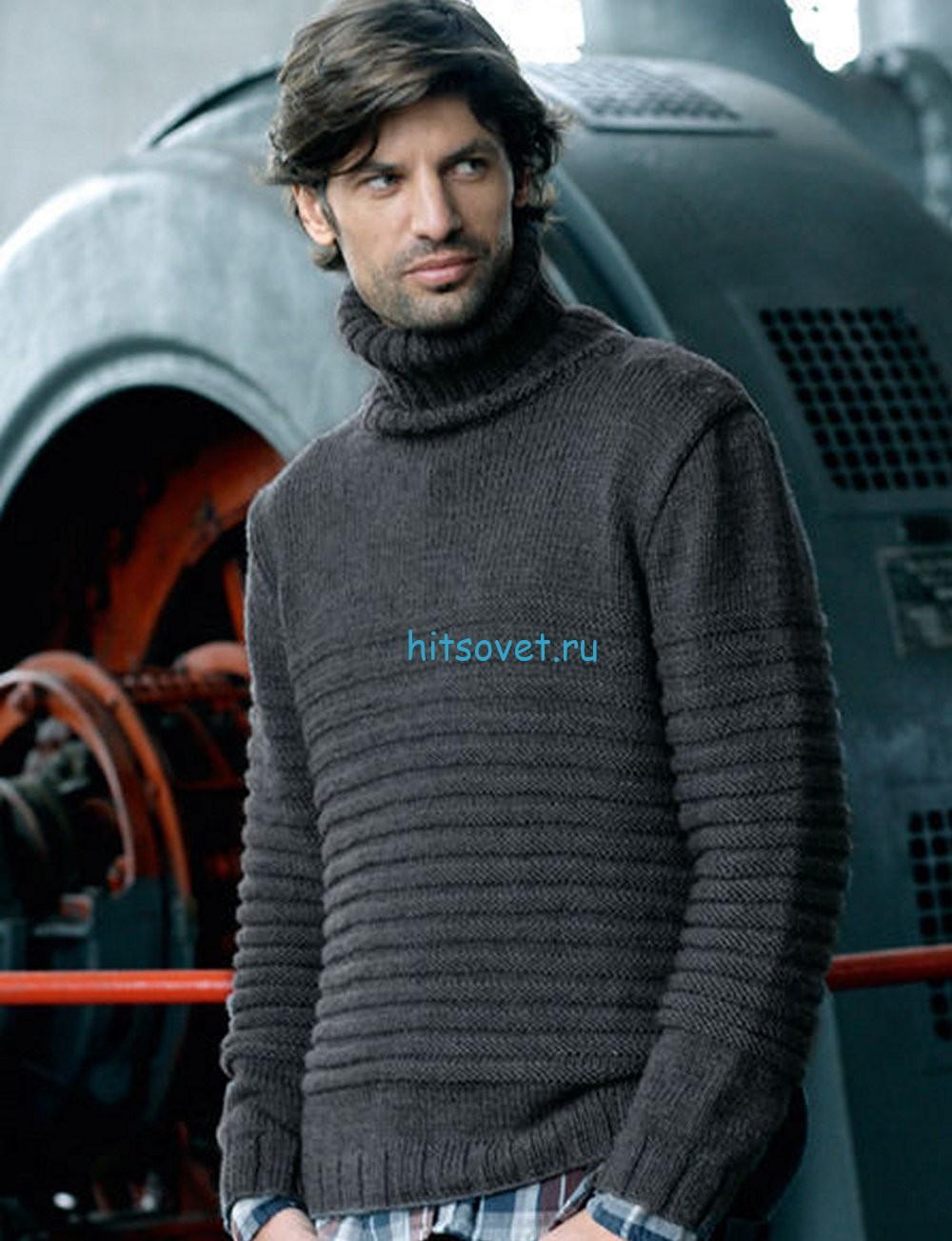 Мужской пуловер с узором в резинку