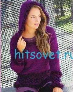 Вязаный пуловер с капюшоном цвета фуксии