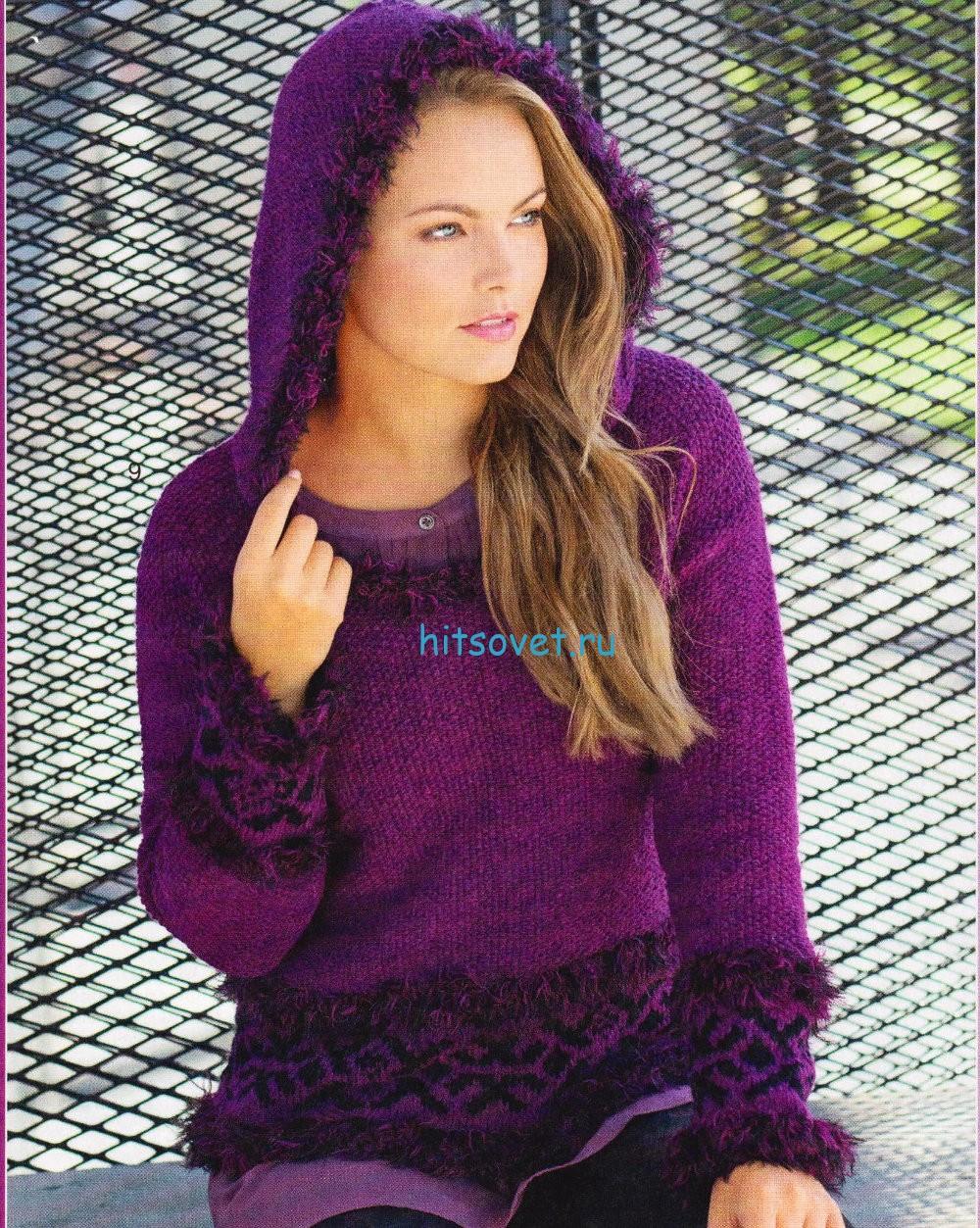 Вязание пуловера с жаккардом и капюшоном