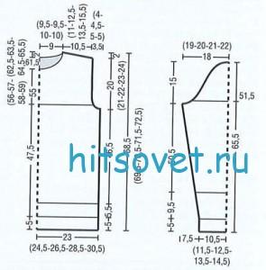 Схема вязания мужского пуловера спицами