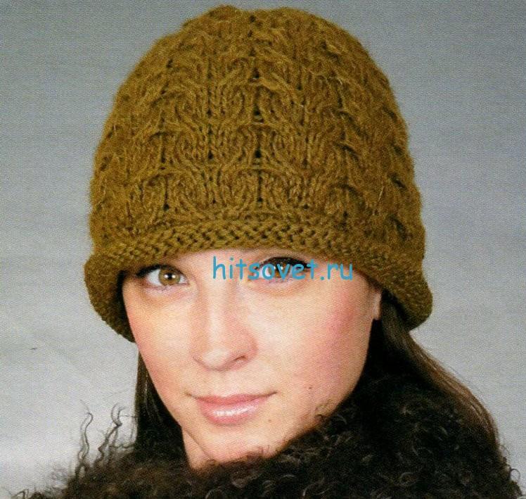 Вязание шапки с узором соты, фото.