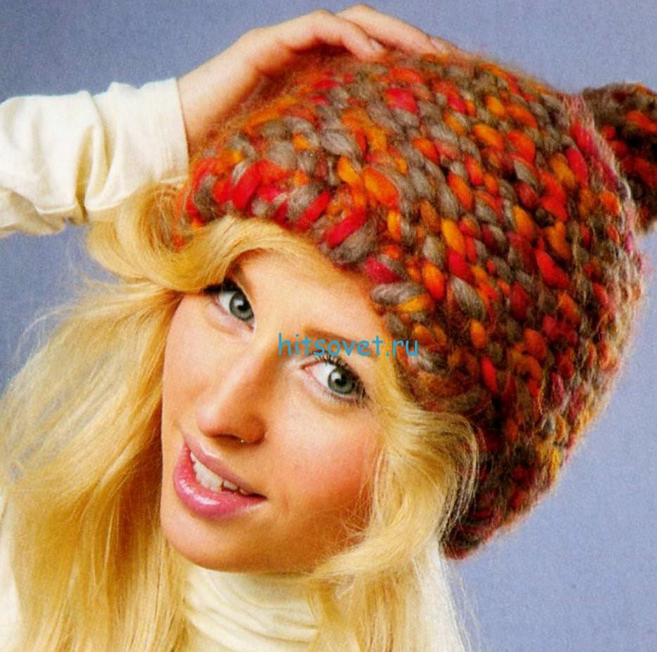 Вязание шапки из толстой пряжи биг бен, фото.