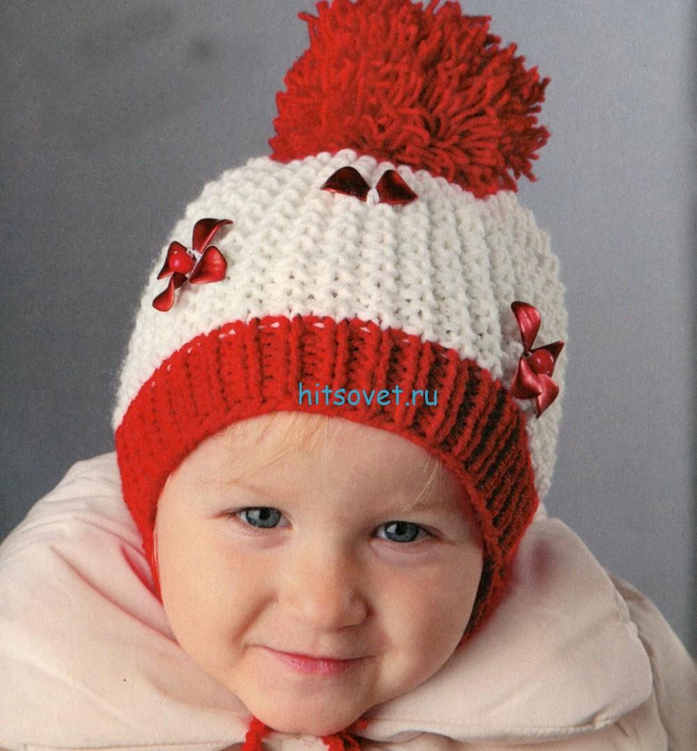 Двухцветная детская шапочка спицами