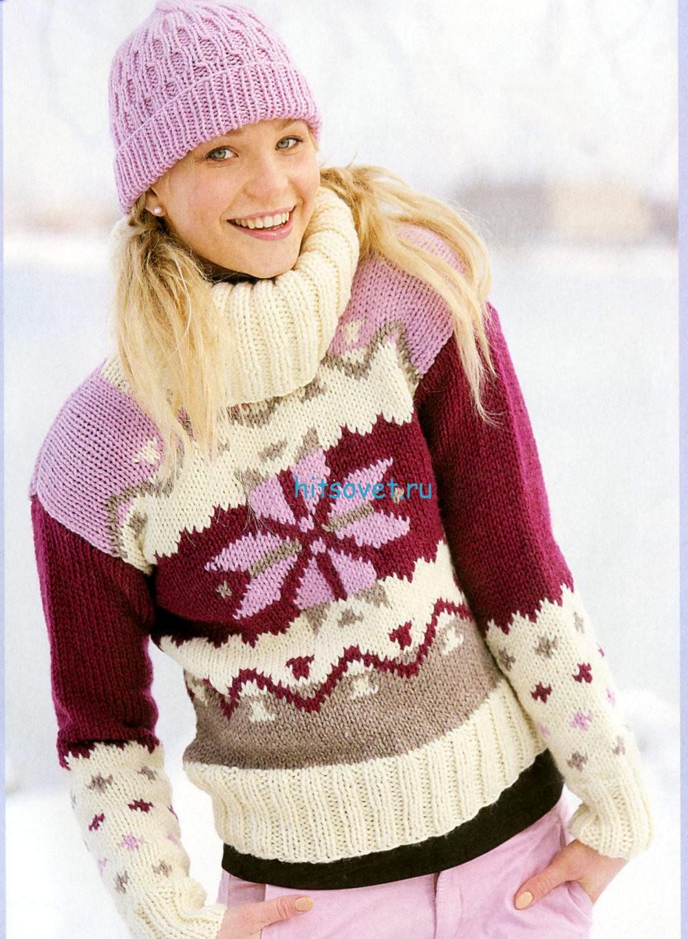 Женский вязаный свитер с орнаментом