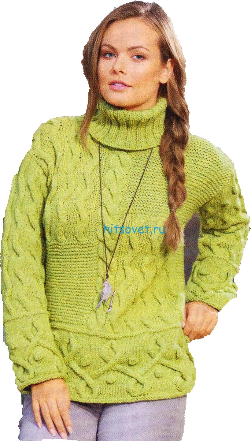 Вязаный свитер с узором зигзаг
