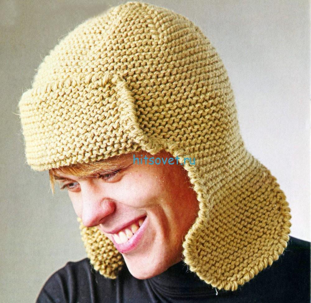 Мастер класс – Вязаная шапка ушанка, фото.