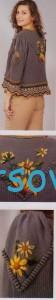 Вязаный жакет с цветами и шишечками, фото 2.