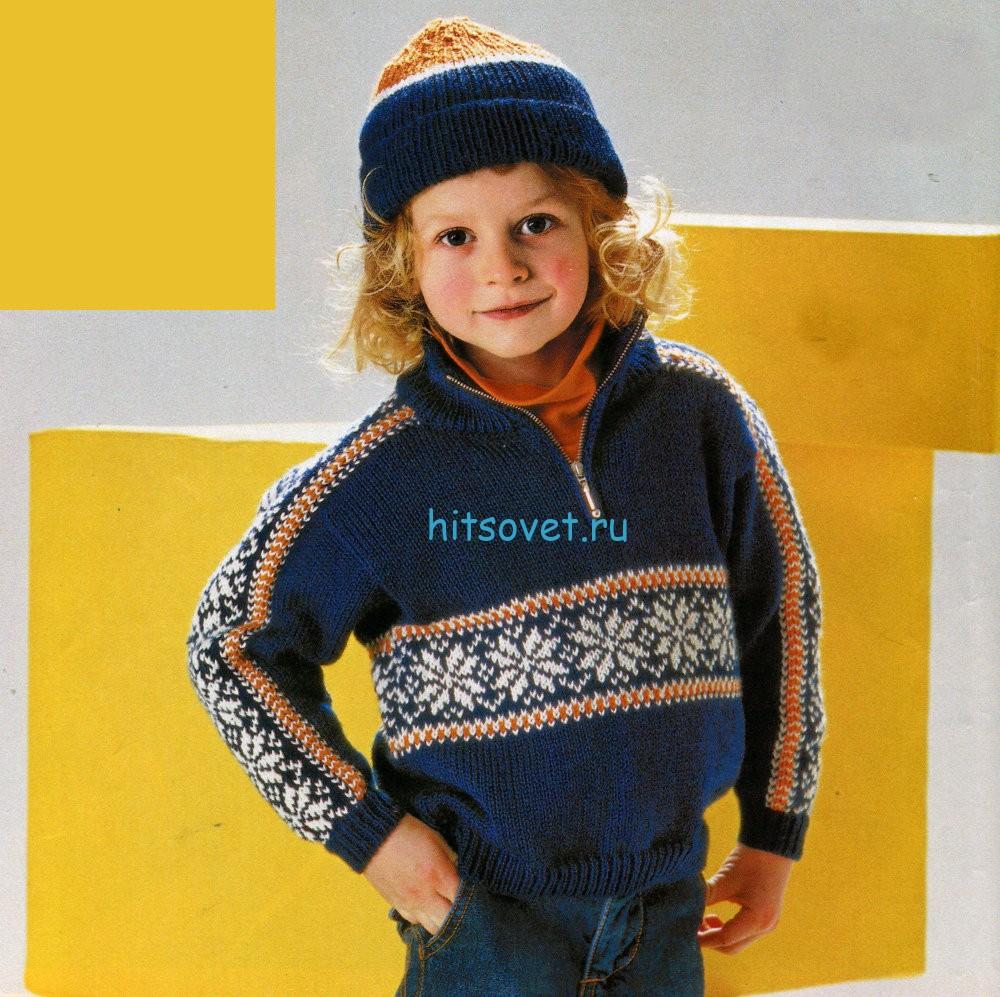 Вязание джемпера и шапочки для мальчика