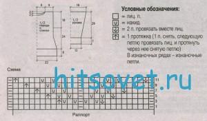 Вязание джемпера с короткими рукавами, схема.